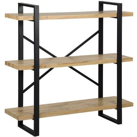 Industrial Open 3 Tier Bookshelf Light Wood Black Metal Frame Timber