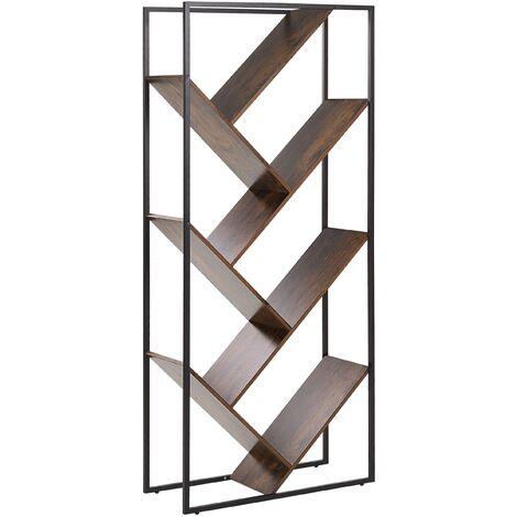 Industrial Open 6 Tier Bookshelf Dark Wood Black Metal Frame Varden