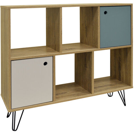INDUSTRIAL - Open Sideboard Shelving / LP Vinyl Storage - Oak