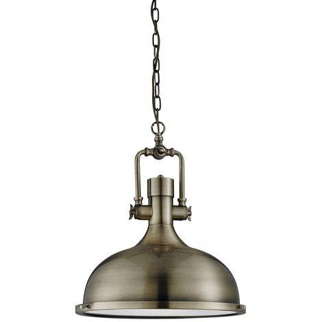 INDUSTRIAL PENDANT - 1 LIGHT ANTIQUE BRASS, FROSTED GLASS DIFFUSER