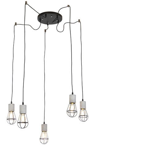 Industrial Pendant Lamp 5 Concrete with Black Frame Shade - Edison
