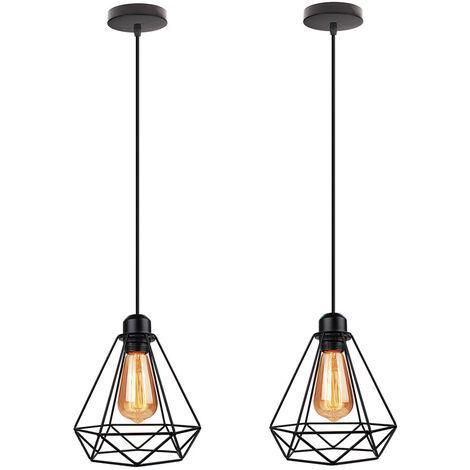 Industrial Pendant Lamp Retro Diamond Hanging Lamp Ø20CM Height Adjustable Ceiling Lamp for Living Room Dining Room Bar Balcony Black (2PCS)