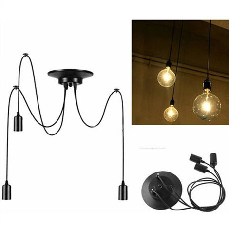 Industrial Pendant Light 150cm Classic Edison Pendant Lamp Vintage Ceiling Lamp E27 3 Lights Black Retro Spider Hanging Light