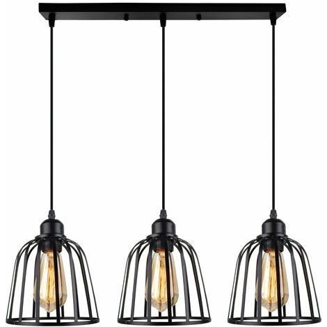 Industrial Pendant Light 3 Lights Antique Ceiling Light Metal Cage Lamp Shade Vintage Chandelier for Cafe Loft Black E27