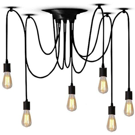 Industrial Pendant Light 6 Lights 150cm Classic Edison Pendant Lamp Retro Spider Hanging Light Black E27 Vintage Ceiling Lamp