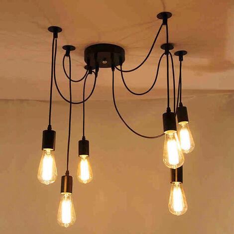 Industrial Pendant Light 6 Lights 150cm Classic Edison Pendant Lamp Vintage Ceiling Lamp Retro Spider Hanging Light Black E27