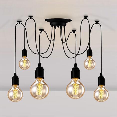 Industrial Pendant Light 6 Lights 150cm Retro Spider Hanging Light Black E27 Vintage Ceiling Lamp Classic Edison Pendant Lamp