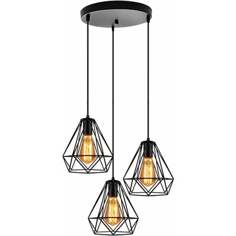 Industrial Pendant Light Adjustable Diamond 20cm Ceiling Light Retro 3 Lights Chandelier for Living Room Dining Room Bar Balcony Black
