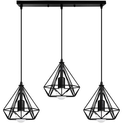 Industrial Pendant Light Black Retro Vintage Pendant Lamp Metal Iron Chandelier 20cm Diamond Ceiling Lamp 3 Lamp Holders Ceiling Light