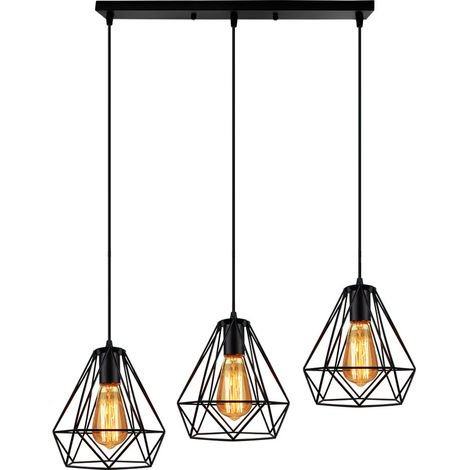 Industrial Pendant Light Chandelier Retro Black Adjustable Diamond Ceiling Light 3 Lights for Living Room Dining Room Bar Balcony