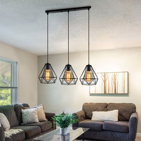"main image of ""Industrial Pendant Light Chandelier Retro Black Diamond 20CM Ceiling Light 3 Lights for Living Room Dining Room Bar Balcony Cafe E27"""