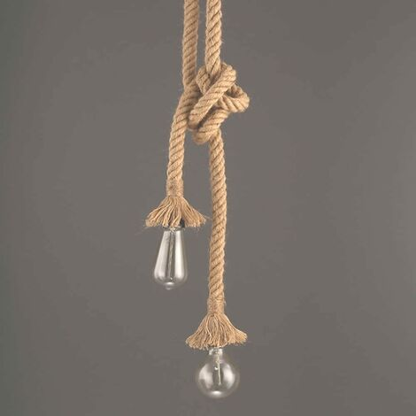 "main image of ""Industrial Pendant Light, Hemp Rope Double Head Hanging Light For Dining, Hall, Restaurant, Bar, Cafe - Length 60cm"""