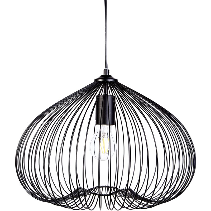 Image of 1-Light Pendant Ceiling Black Metal Shade Cage Wire Industrial