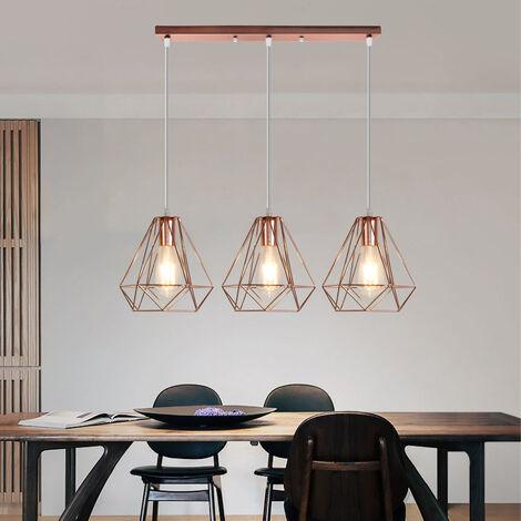 Industrial Pendant Light Modern Ceiling Lamp Vintage Chandelier Metal Iron Lamp Shade Ø20cm 3 Lights Diamond Hanging Light Rose Gold