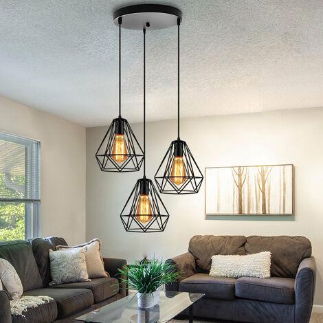 "main image of ""Industrial Pendant Light Retro Ceiling Light Black Metal 3 Lights Pendant Lamp Ø20cm Diamond Hanging Light Vintage Chandelier"""