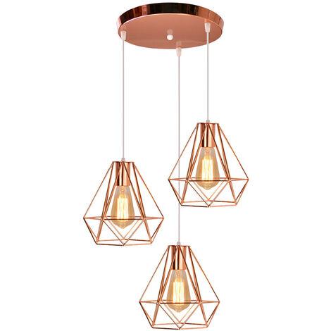 Industrial Pendant Light Retro Ceiling Light Rose Gold Metal 3 Lights Pendant Lamp Ø20cm Diamond Hanging Light Vintage Chandelier