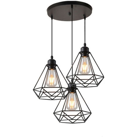 Industrial Pendant Light Retro Chandelier Adjustable Diamond Ceiling Light 3 Lights for Living Room Dining Room Bar Balcony Black