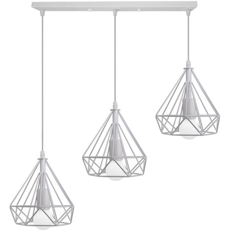 Industrial Pendant Light Retro Vintage Pendant Lamp Metal Iron Chandelier 20cm Diamond Ceiling Lamp 3 Lamp Holders Ceiling Light White