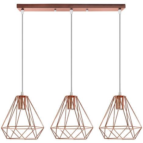 "main image of ""Industrial Pendant Light Rose Gold Modern Ceiling Light Vintage 3 Lights Chandelier Ø20CM Diamond Hanging Light Metal Iron Lamp Shade"""