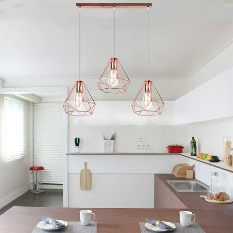 "main image of ""Industrial Pendant Light Rose Gold Modern Ceiling Light Vintage Chandelier Metal Iron Lamp Shade Ø20CM 3 Lights Diamond Hanging Light"""