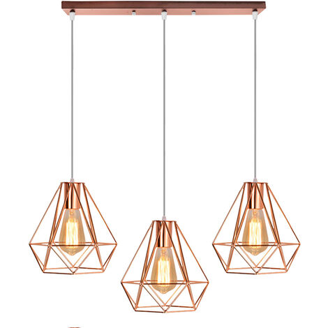 Industrial Pendant Light Rose Gold Retro Ceiling Lamp Vintage 3 Lights Chandelier Ø20cm Diamond Hanging Light Metal Iron Lamp Shade