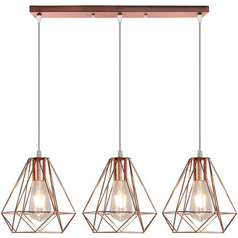 "main image of ""Industrial Pendant Light Rose Gold Retro Ceiling Light Vintage 3 Lights Chandelier Ø20CM Diamond Hanging Light Metal Iron Lamp Shade"""