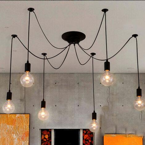 Industrial Pendant Light Vintage Ceiling Lamp 6 Lights Retro Spider Hanging Light 150cm Black E27 Classic Edison Pendant Lamp