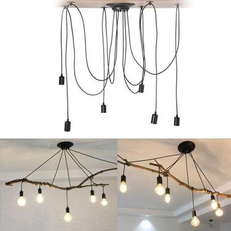 Industrial Pendant Light Vintage Ceiling Lamp 6 Lights Retro Spider Hanging Light 150cm Classic Edison Pendant Lamp Black E27