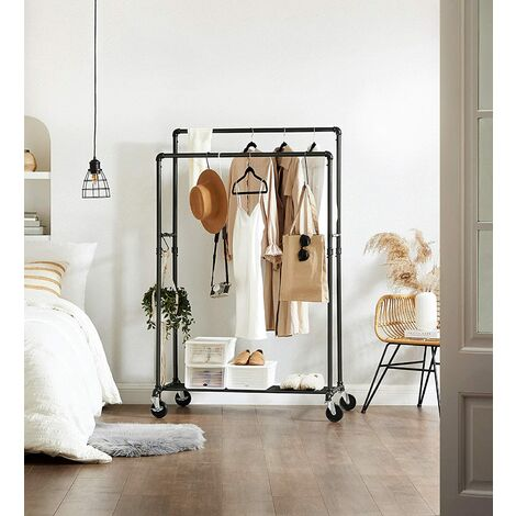 Industrial Pipe Clothes Rack on Wheels, Maximum load of 110Kg, Double Hanging Rail, Heavy Duty Metal with Shelf, Commercial Grade, Black HSR60B
