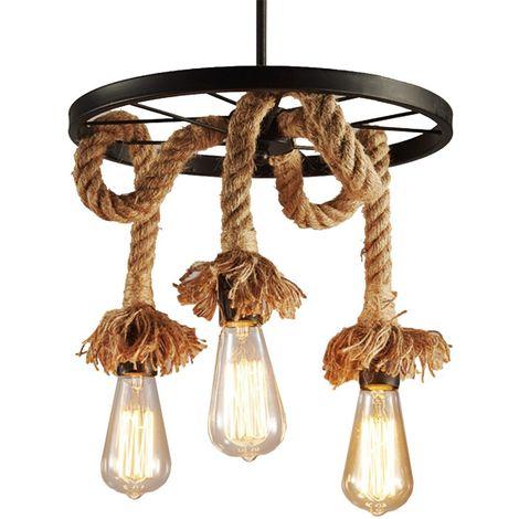 Industrial Retro 3-lights Metal Flax Rope Chandelier Loft Bar Ceiling Lamp Pastoral Antique Lighting