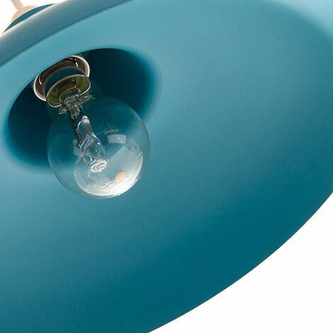 29cm Diameter by Happy Homewares Industrial Retro Designed Matt Teal Curved Metal Ceiling Pendant Light Shade 60w Maximum