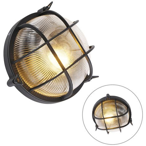 Industrial round wall lamp black IP44 - Noutica