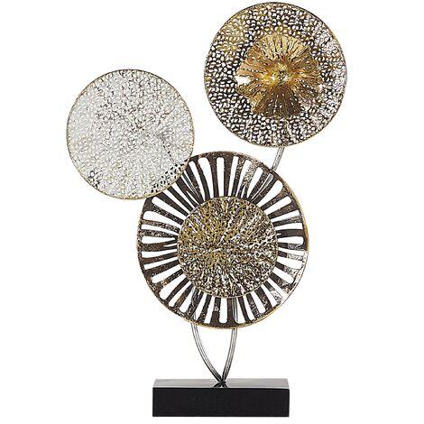 Industrial Rustic Decorative Accent Piece Circles Metal Gold and Silver Uranium