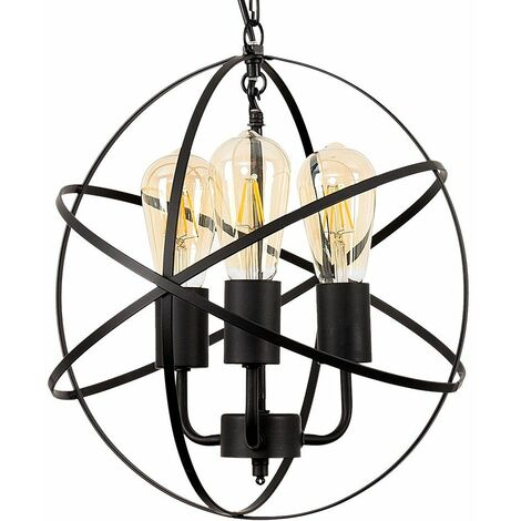 Industrial Satin Black 3 Way Atom Ceiling Light Fitting