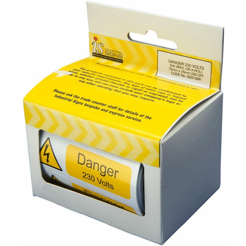 Image of 'Danger 230V' Self-Adhesive Vinyl Roll (Pack of 250) IS20100R - Industrial Signs