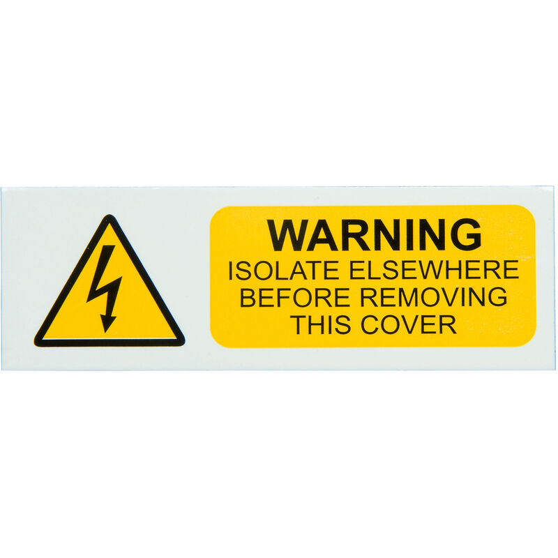 Image of IS0110SA Warning Isolate Elsewhere 75x25 - Pack of 10 S/a Vinyl - Industrial Signs