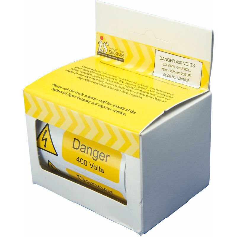 Image of IS28100R Danger 400V 75x25 - Pack of 250 S/a Vinyl Roll - Industrial Signs