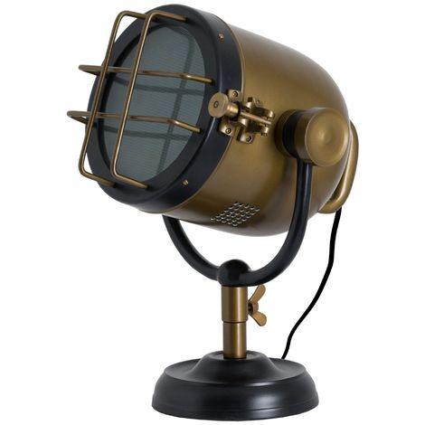 Industrial Spotlight Table Lamp (UK Plug) (One Size) (Black/Brass)