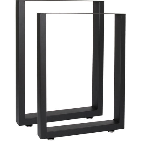 Industrial Square Table Legs Powder-coated Black 30x43cm for Tables Benches and Desks