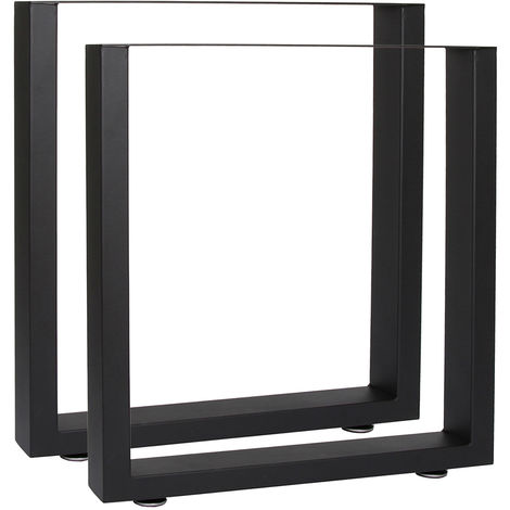 Industrial Square Table Legs Powder-coated Black 40x43cm for Tables Benches and Desks