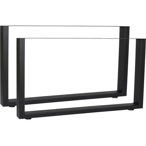 Industrial Square Table Legs Powder-coated Black 64x40cm for Tables Benches and Desks