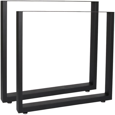 Industrial Square Table Legs Powder-coated Black 70x72cm for Tables Benches and Desks