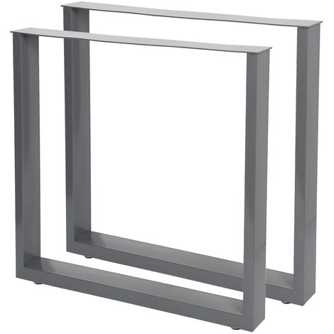 Industrial Square Table Legs Powder-coated Grey 40x43cm for Tables Benches and Desks