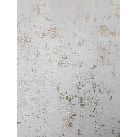 Industrial Stone Concrete Wallpaper Metallic White Gold Vinyl Paste Wall