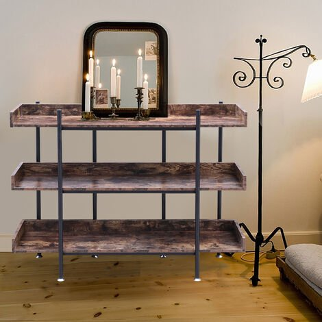 Industrial Style 3 Tier Shelf Storage Shelving Bookcase Rack Plant Display Stand Natural