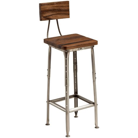 Industrial Style Antique Bar Chair Wood / Metal In Silver Finish