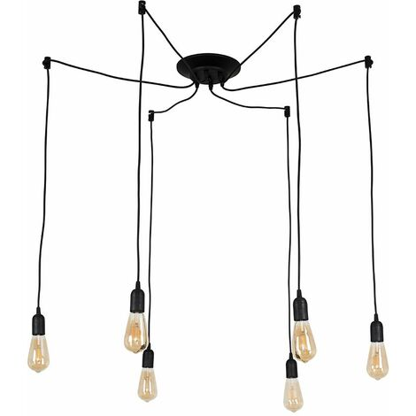 Industrial Style Black 6 Way Ceiling Pendant Light Fitting - Globe Shaped LED - Black