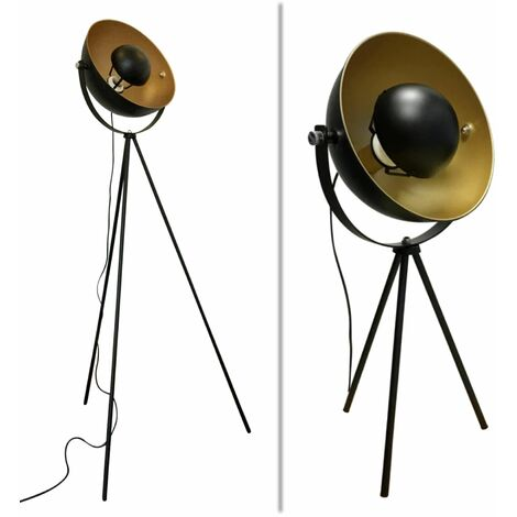 Industrial Style Black Tripod Floor & Table Lamp