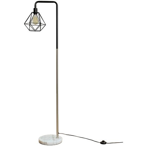 Industrial Style Chrome Floor Lamp Metal Geometric Lampshade Solid Marble Base