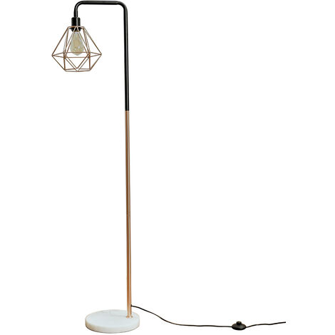Industrial Style Copper Floor Lamp Metal Geometric Lampshade Solid Marble Base